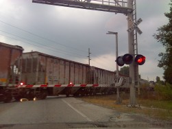 A train rolls through Gas City